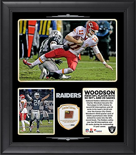 Charles Woodson Oakland Raiders Became The First Player in NFL History to Record 50 Interceptions and 20 Sacks in...