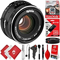 Opteka 50mm f/2.0 Prime Lens for Canon EF-M Mount APS-C Digital SLR Cameras M100 M10 M6 M5 M3 M2 Plus Bonus 16GB 12PC Bundle