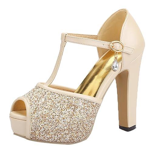 UH Mujer Sandalias de Tacon con Brillantes Plataforma Peep Toe Tacon Ancho  Correa de Tobillo Boda Zapatos  Amazon.es  Zapatos y complementos d56d145eeba0