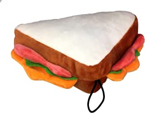 Petlou Durable Plush Food Collection Dogs and Cats Squeak Toys.7-Inch Sandwich