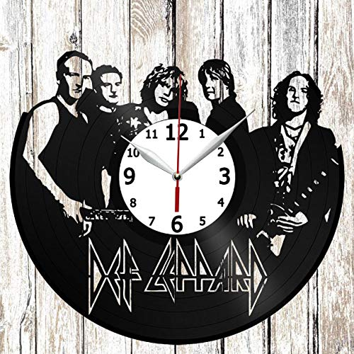 Def Leppard Vinel Record Wall Clock Home Art Decor Original Gift Unique Design Handmade Vinyl Clock Black Exclusive Clock Fan ()