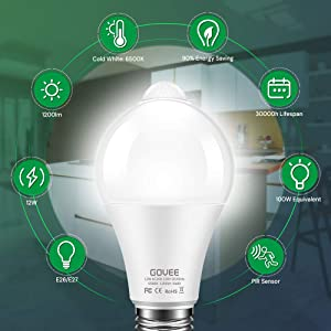 Govee Motion Sensor Light Bulb, 12W (100W Equivalent) 1200lm PIR Activated Dusk to Dawn Security LED Bulb, Auto On/Off Indoor Outdoor Lighting for Front Door, Garage, Stair, Hallway 2 Pack(Cold White) (Color: Cool White, Tamaño: 2 Pack)