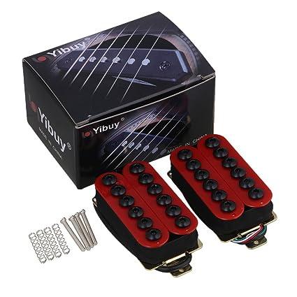 yibuy Par de Pastillas para guitarra eléctrica de metal rojo con imanes & Cerámica umbrella-