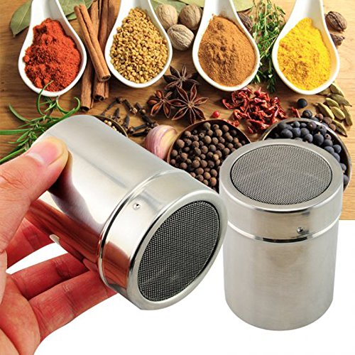 Stainless Chocolate Fine Mesh Sifter Shaker Dredge Icing Sugar Powder Cocoa Flour Coffee Sifter - 2