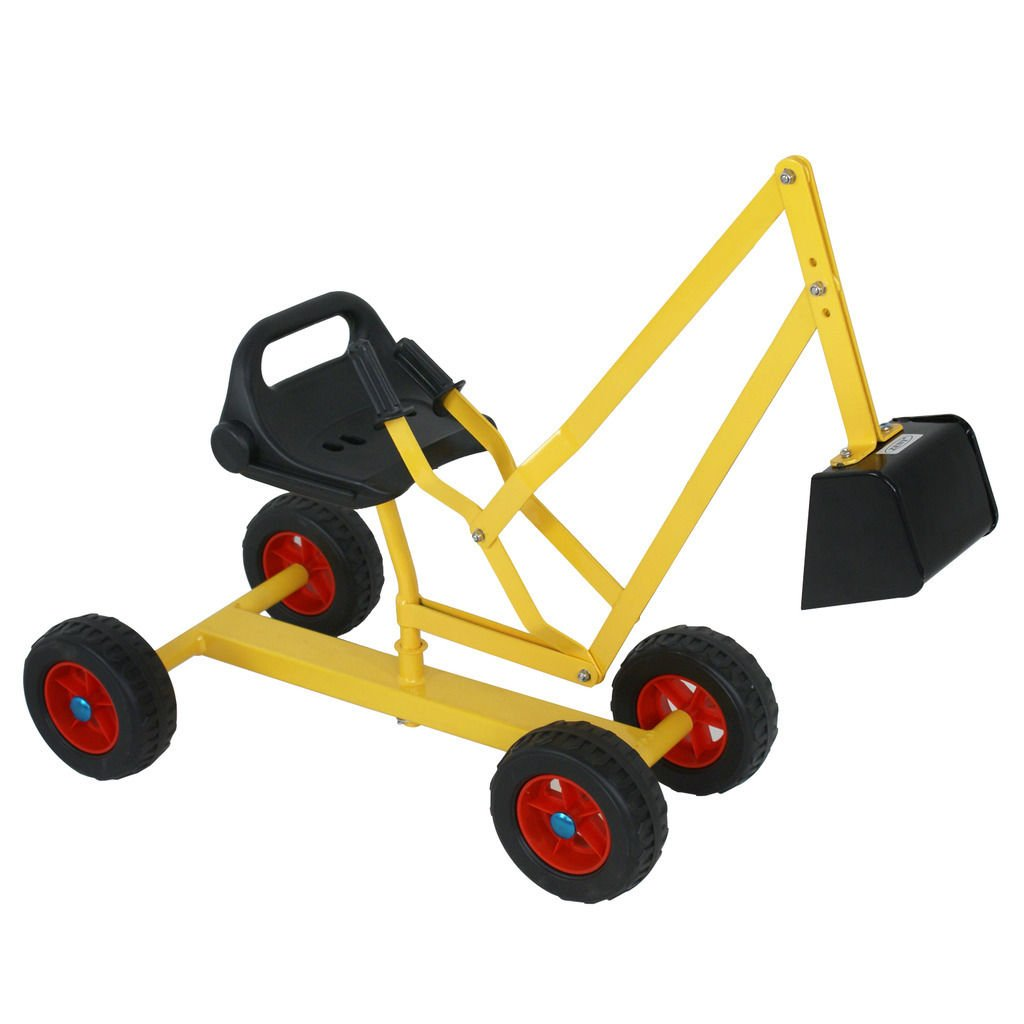 Nova Microdermabrasion Big Kids Ride-on Sand Digger Backhoe Working Crane Excavator Beach Toy with 4 Wheels, Outdoor Sandbox Toy Heavy Duty Steel