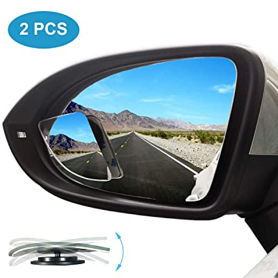 Kitbest Blind Spot Mirror, Car Side Mirror HD Glass Frameless Convex Rear View Mirror Adjustable Auto Blindspot Mirror for Wide Angle View, Stick On Design (Pack of 2): Automotive