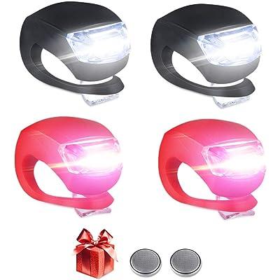 LED Bicicleta Luz Sets, Luces Bicicleta LED Silicona Impermeable Juego De 4 Luces LED Clip-On Silicone Luces De Bicicleta Blanco Faro y Luz Trasera Roja para Corredores Mascotas