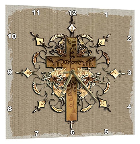 3dRose Bronze Decorated Cross - Wall Clock, 15 by 15