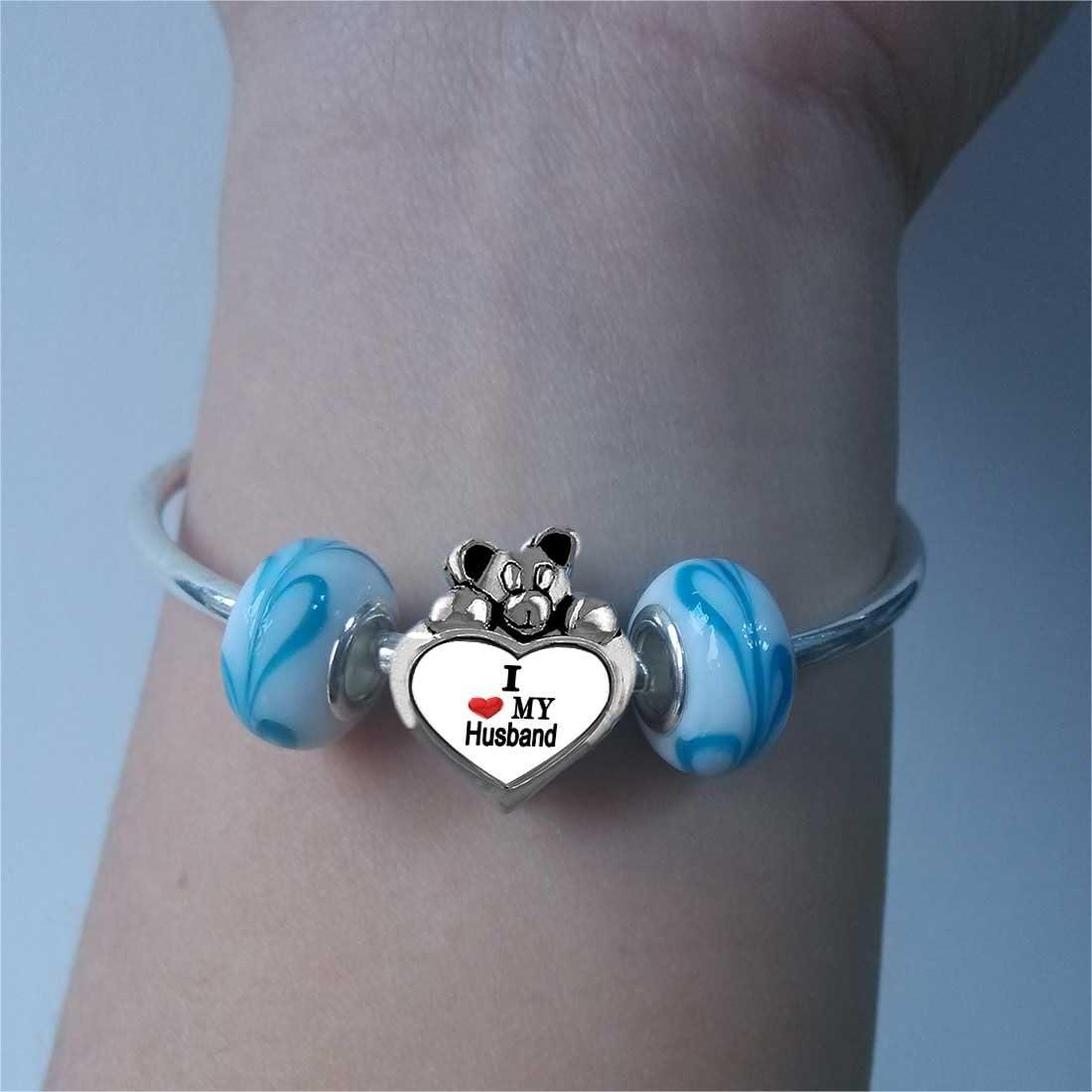 GiftJewelryShop I Heart My Husband Topaz Crystal November Birthstone I Love You Heart Care Bear Charm Bracelets