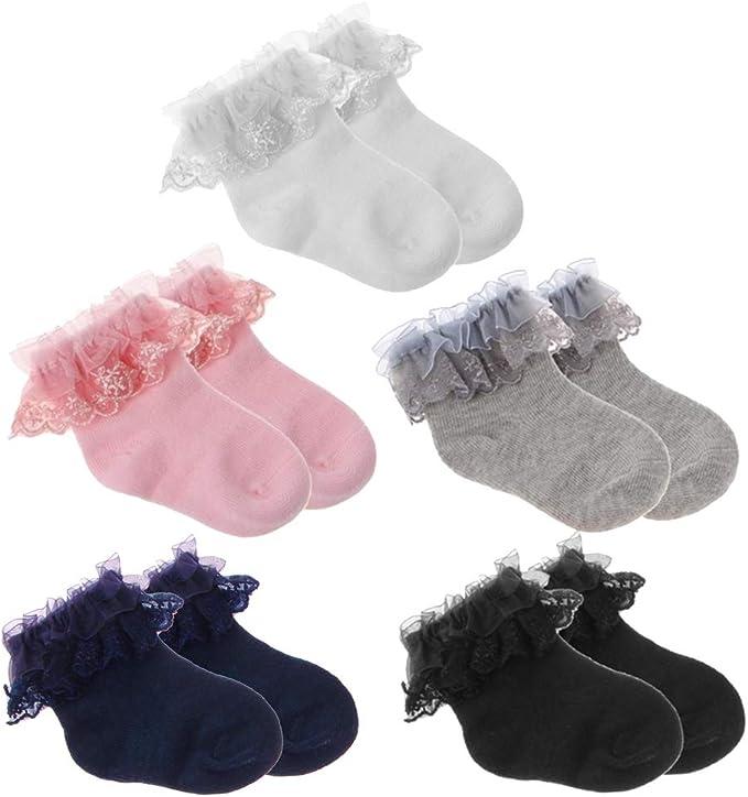 Calcetines de algodón suave para niña, color sólido, transpirables ...