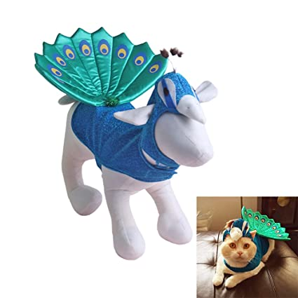 pethouzz dog halloween costumes peacock costume for puppy cat and small animals