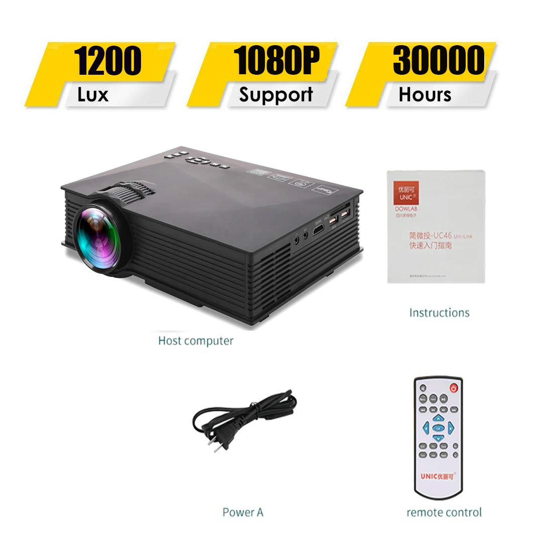 SONGYANG Video proyector LED con Pantalla de Enlace inalámbrico y ...