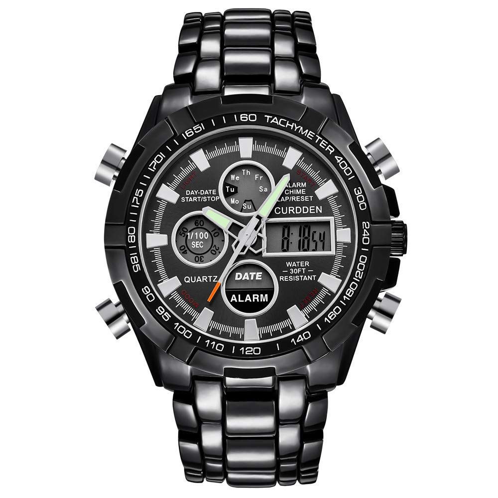 Winsummer Classic Men's Business Casual Chronograph Quartz Waterproof Wristwatch Black Stainless Steel Strap Watches (#3)