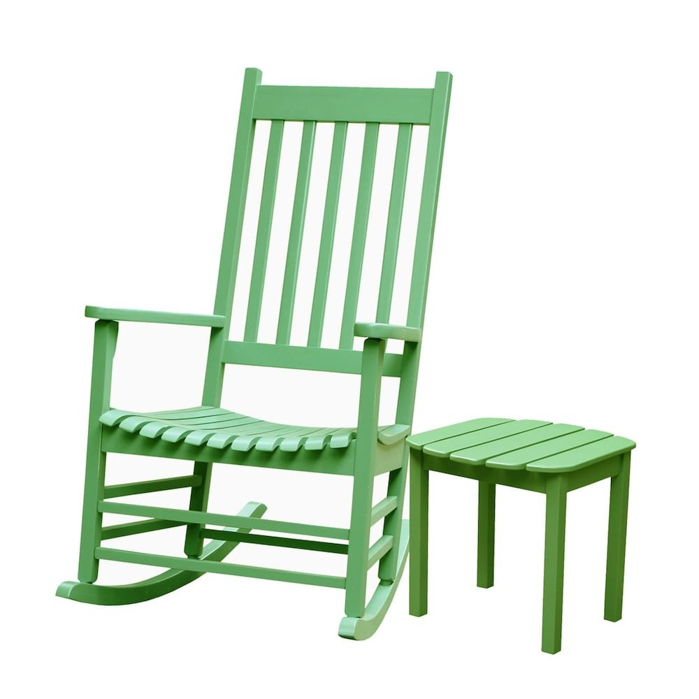 MD Group Porch Rocker Chair Outdoor Patio Solid Wooden Light Green w/Side Table Furniture Set by MD Group