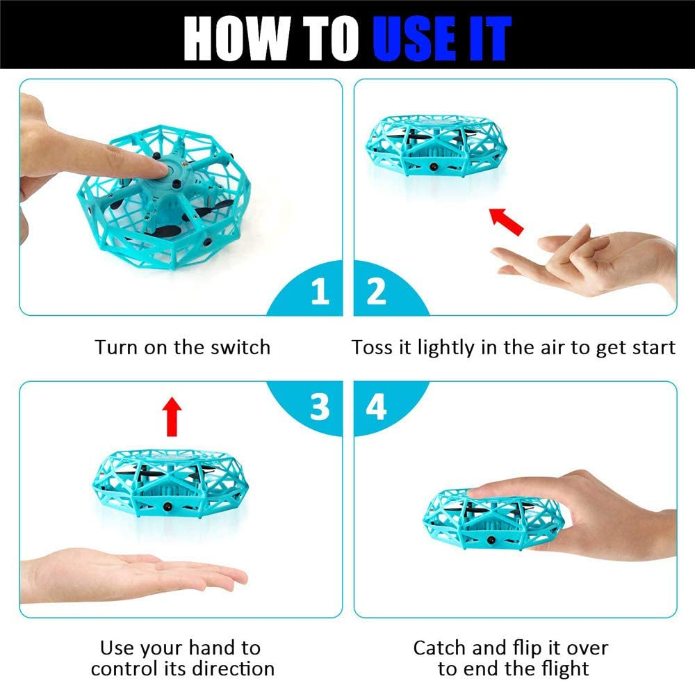 Blue 360/° Rotating and Flashing LED Lights Remote Control Quadcopterv Interactive Infrared Sensor Remote Control Helicopter Toy DAXHU UFO Flying Toy Suitable for Boys and Girls Childrens Gifts