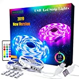 Led Strip Lights, 19.6ft RGB Led Light Strip, Color Changing USB LED Strip Lights with Remote, TV Led Backlight, Room, Bedroom, Kitchen, Home Decoration Led Lights, Mood Lighting Strip Lights