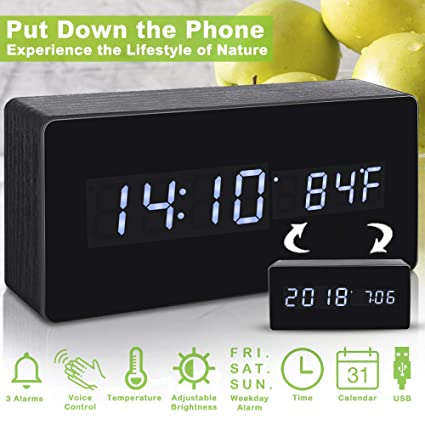 Amazoncom Alarm Clockdigital Clock Wood Alarm Clocks For Bedrooms