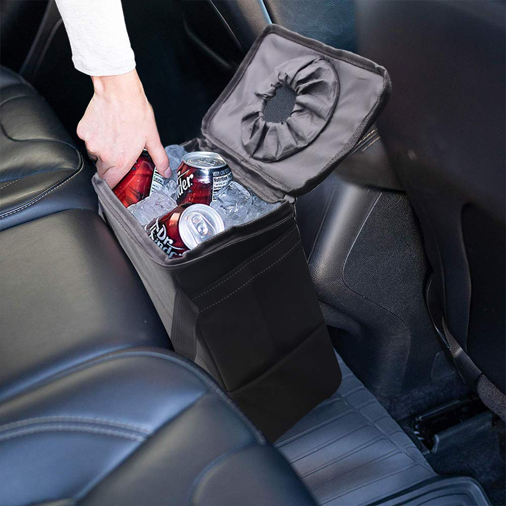 Freesooth Car Garbage Can,Waterproof Car Trash Can with Flip Open Lid and Storage Pockets Collapsible Car Garbage Bag