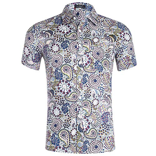 Summer Casual Blouse Fashion Mens 3D Color Print Trend Color Short-Sleeved Shirt D White