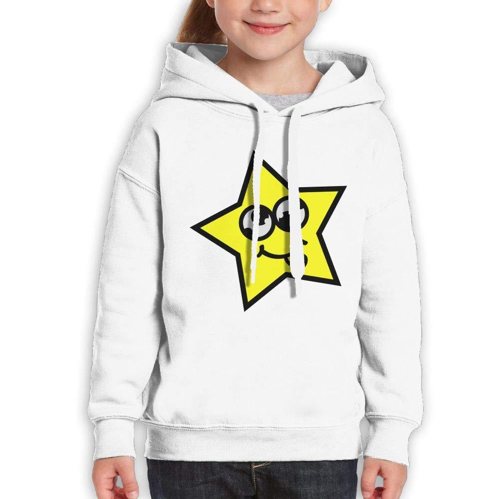 Qiop Nee Stars Funny Faces Youth Hoodie Print Long Sleeve Sweatshirt Girl's