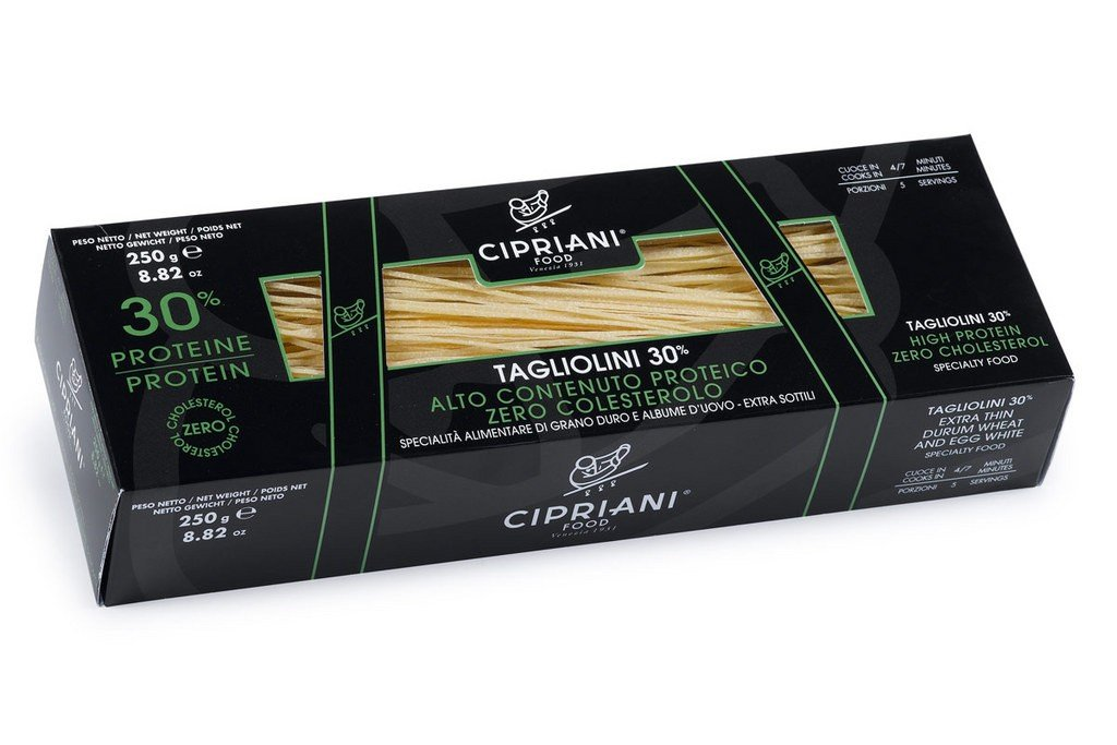 Cipriani Food High Protein 30% Tagliolini Extra Thin Egg White Pasta - 8.82 oz (Pack of 2)