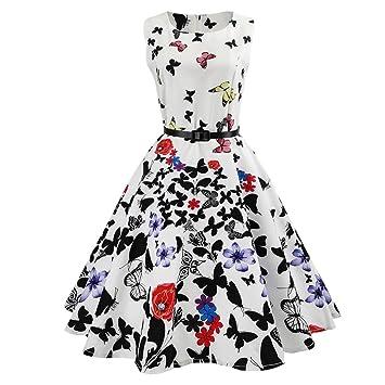 Igemy- Vestido para Mujer, Estilo Vintage, Estampado de Mariposas, sin Mangas,