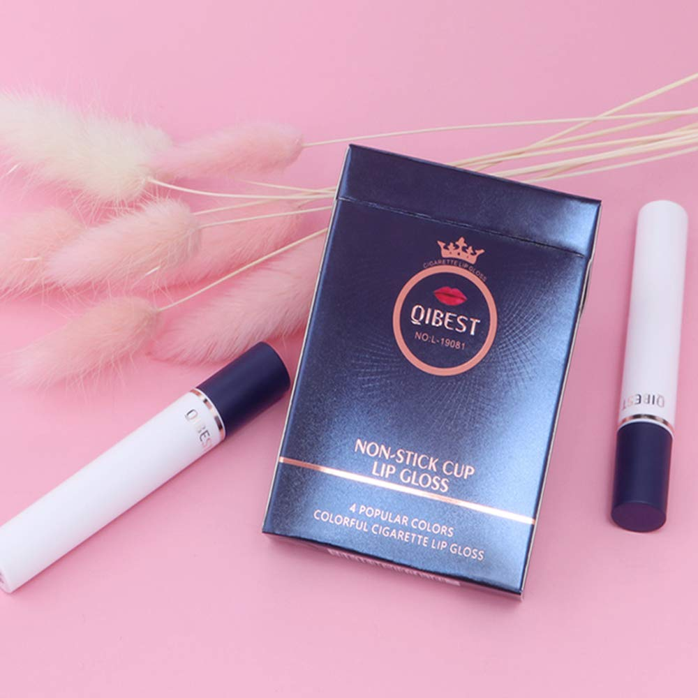 Liquid Cigarette Nude lipstick set, QiBest 4 Colors Matte Waterproof Velvet High Pigmented Lipstick Set (B)