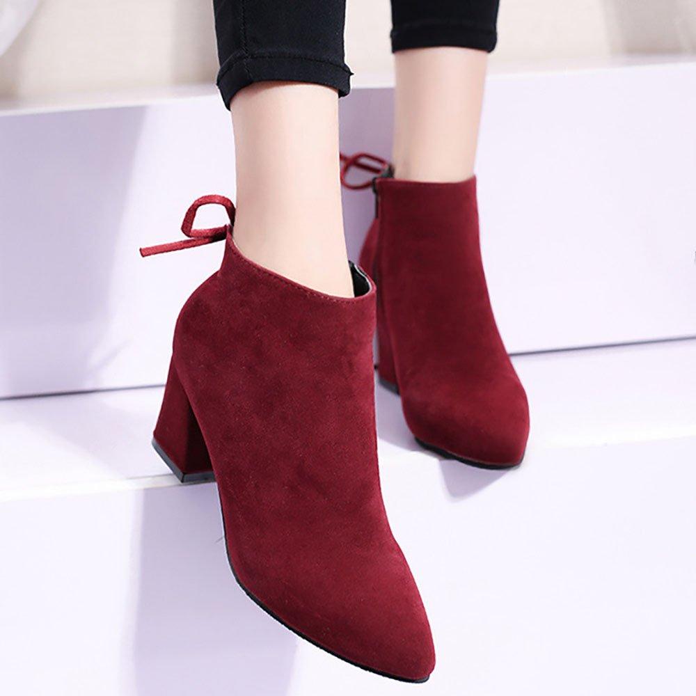 QTZS Frauen 's Schuhe Schuhe Schuhe aus Nubukleder Herbst Winter Mode Stiefelies Stiefel Stiefeletten für Casual Burgund Khaki Schwarz, Burgund, UNS 6,5-7 EU 37 UK 4,5-5 CN 37 6e08d9