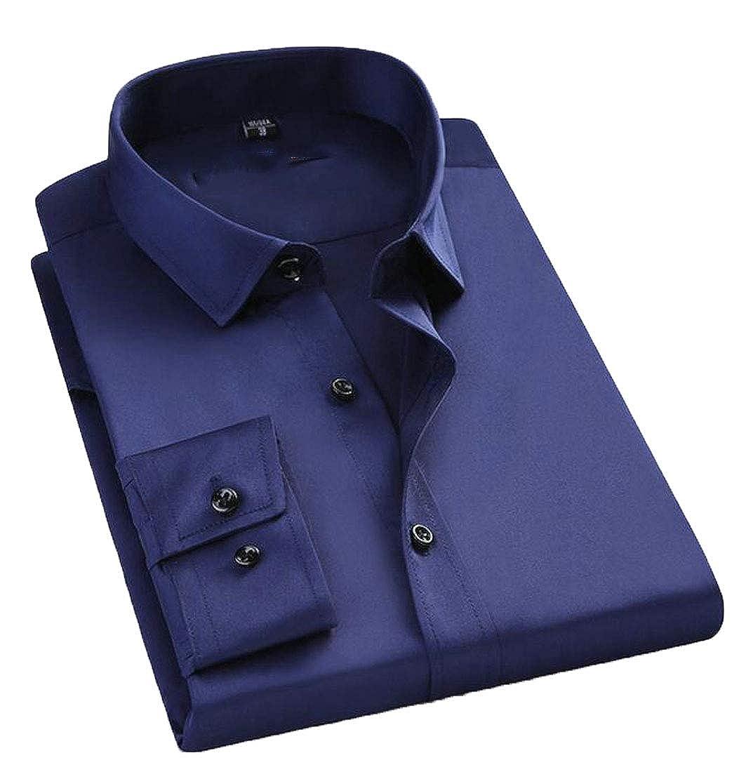 FRPE Men Slim Business Long Sleeve Button Front Stretch Dress Shirt