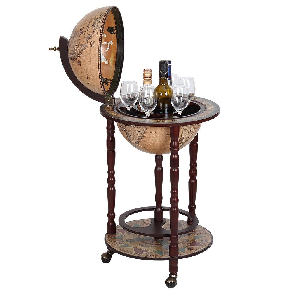Globe Wine Bar Stand Sixteenth-century Italian Replica As A New Version Global Bar Cabinet, Brown