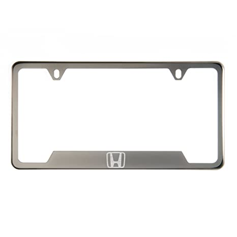 Circle Cool 1x Laser Etched Honda Logo on Gun Metal Black Chrome Titanium  Bottom Cut Out Stainless Steel License Plate Frame Holder with Aluminum