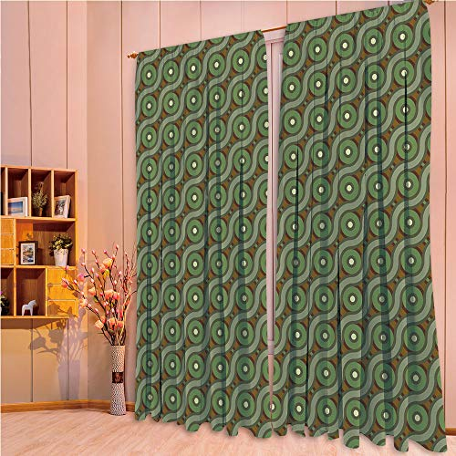 ZHICASSIESOPHIER Bedroom/Living Room/Kids/Youth Room Curtain Panels, 2 Panel,Wavy Linked Lines Circles Round Pixel Art 84Wx63L Inch -