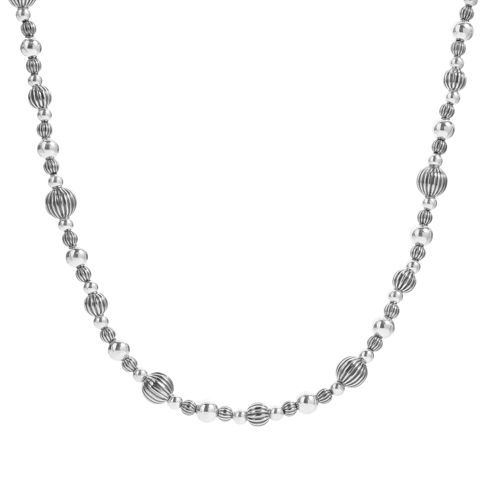 American West Sterling Silver Smooth and Corrugated Bead Necklace 32 to 34 Inch by American West