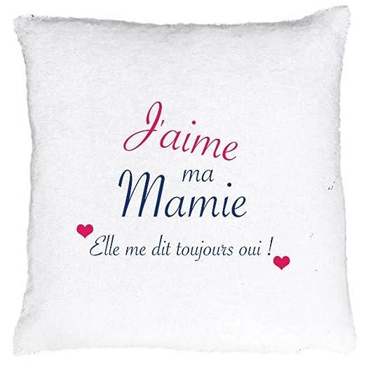Cojín o funda de cojín Sequin, J aime ma Mamie, Elle Me ...