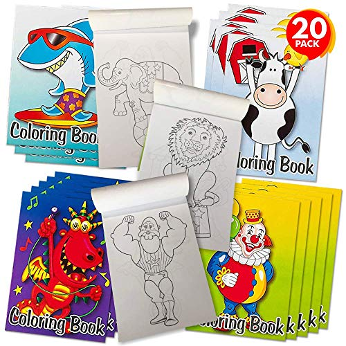 ArtCreativity Assorted Mini Coloring Books for Kids - Bulk Pack of 20 - 5 x 7 Inch Small Color Booklets in 4 Designs, Fun Birthday Party Favors for Toddlers, Educational Art Gifts for Boys and Girls