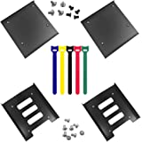 """4 Pack SSD Mounting Bracket Kit 2.5"""" to 3.5"""" Drive Bay, findTop Metal Mounting Bracket Adapter Hard Drive Holder with 10 Asso"""
