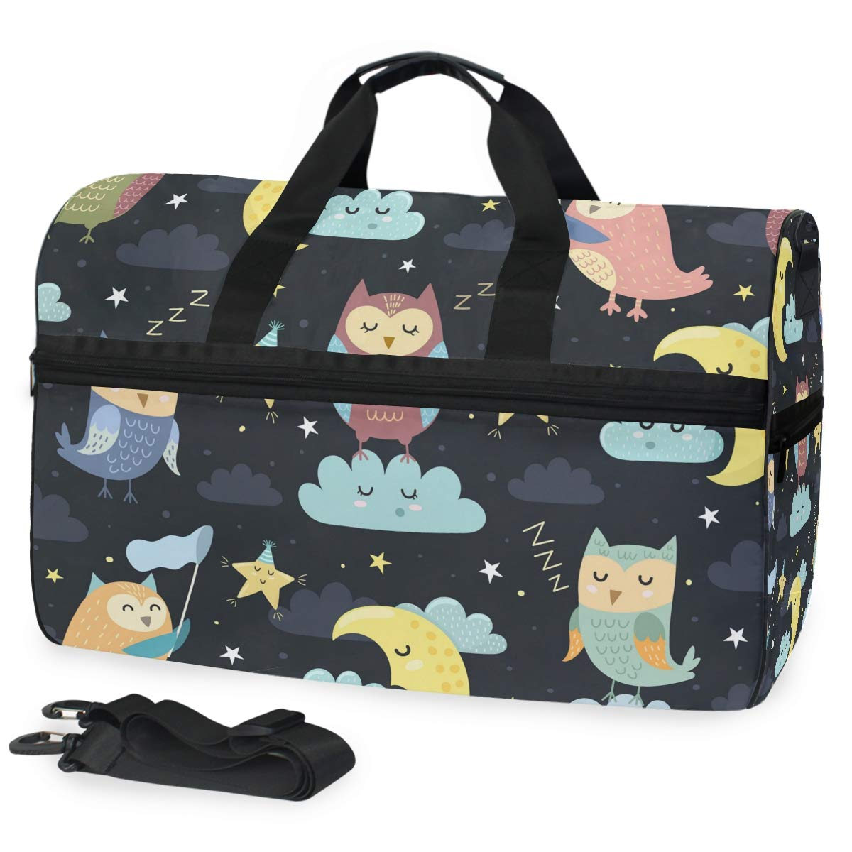 Hunihuni Duffel Bag,Animal Owl Pattern Travel Luggage Bag