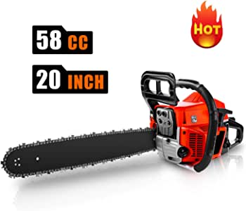 """CHAKOR 58CC Chainsaw, 20"""" Gas Chainsaw, 2 Strokes 3.5HP Gas Powered Chainsaw, Petrol Chain Saw for Cutting Wood with Tool Kit"""