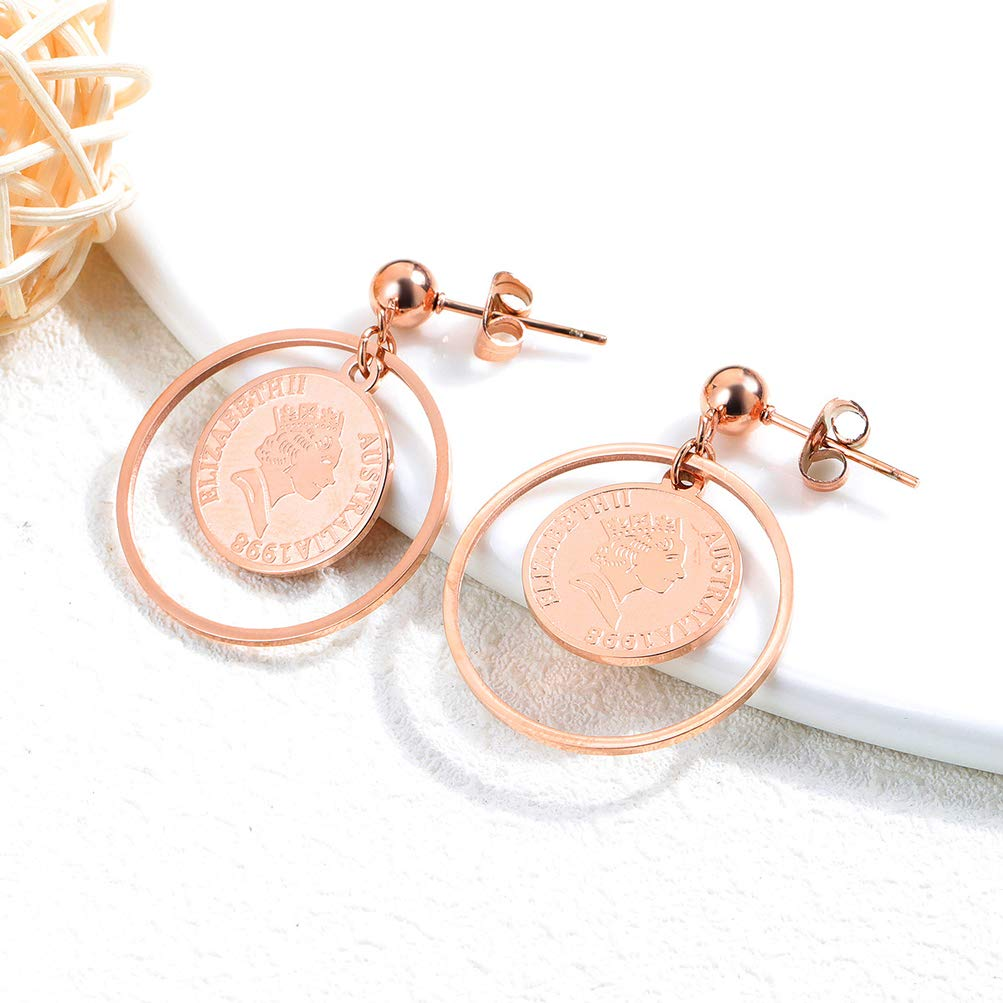 Wonlines Fashion Rose Gold Stainless Steel Coin Round Earrings Dangle Earrings