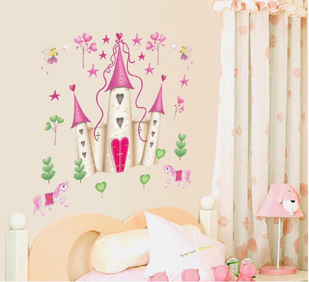 ufengke® Cartoon Prinzessin Schloss Wandsticker,Kinderzimmer ...