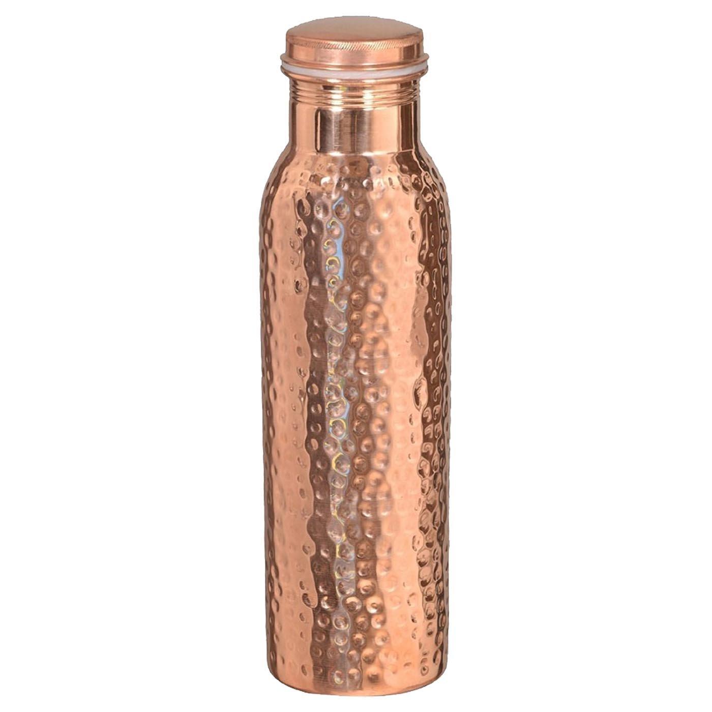 DakshCraft ® de cobre puro martillado con estilo Conjunto Agua Botella libre para los beneficios del Ayurveda Salud (28,74 oz / 850 ml) con 4 Pequeño cobre ...