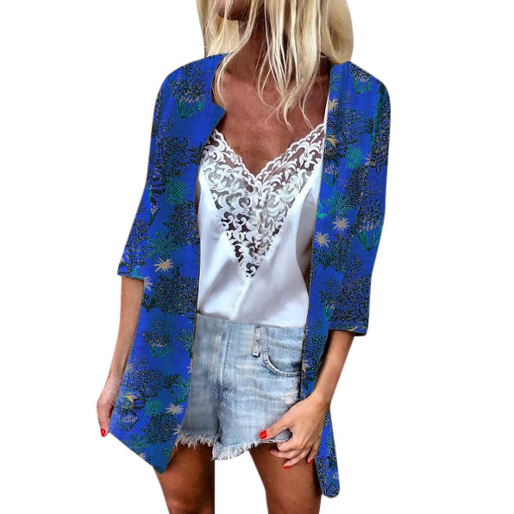 F_topbu Women's Floral Kimono Cardigans Boho Printed Sunscreen 3/4 Sleeve Loose Sheer Casual Blouse Top