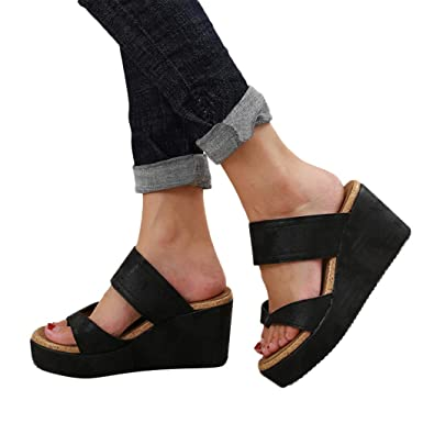 aa3f6441c Women s Platform Wedge Flip Flop Thong Sandal - Open Toe Breathable Beach  Casual Shoes (Black