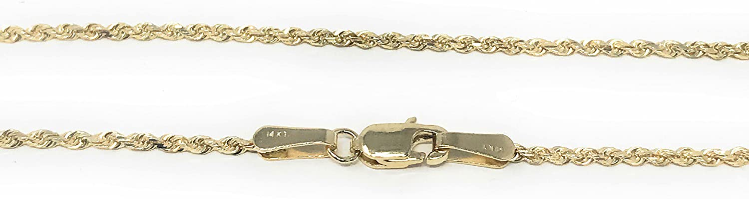 Ioka 14K Yellow Solid Gold 1mm Rope Chain Necklace with Lobster Clasp