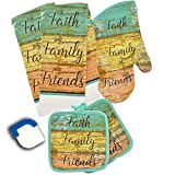 Dublin's Treasure Isle Kitchen Linen Printed Set Includes: one oven mitt, two pot holders, two dish towels and bonus scraper, six piece set (Faith Beach)