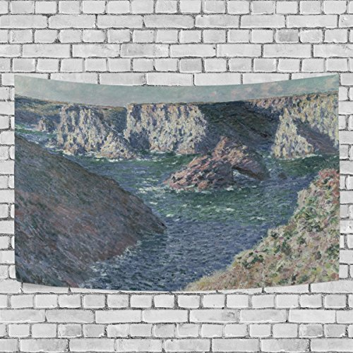 WIHVE Tapestry Rocks At Belle-Ile Monet Art Wall Hanging Art Home Decor Polyester Tapestry for Living Room Bedroom Bathroom Kitchen Dorm 60 x 51 Inches ()