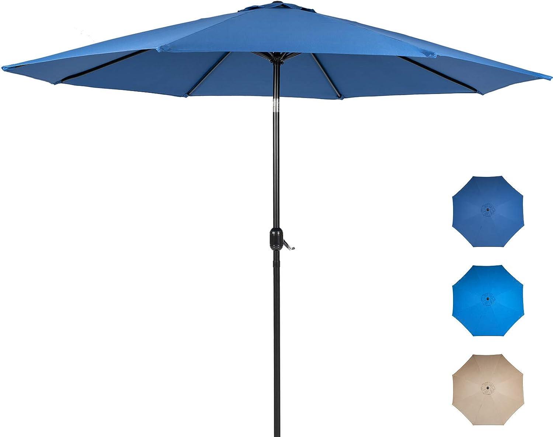Oakcloud Patio Umbrella Outdoor Table Umbrella with Push Button Tilt/Crank, 8 Sturdy Ribs
