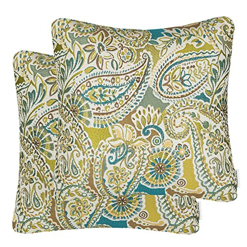Mika Home Pack of 2 Decorative Accent Throw Pillow Cover Sham Cushion Case,Paisley Pattern,20x20 Inches,Green Brown Cream Multicolor ()