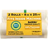 "8"" x 25' Rolls (Fits Inside Machine) - Pack of 2 (50 feet total) - OutOfAir Vacuum Sealer Rolls. Works with FoodSaver…"