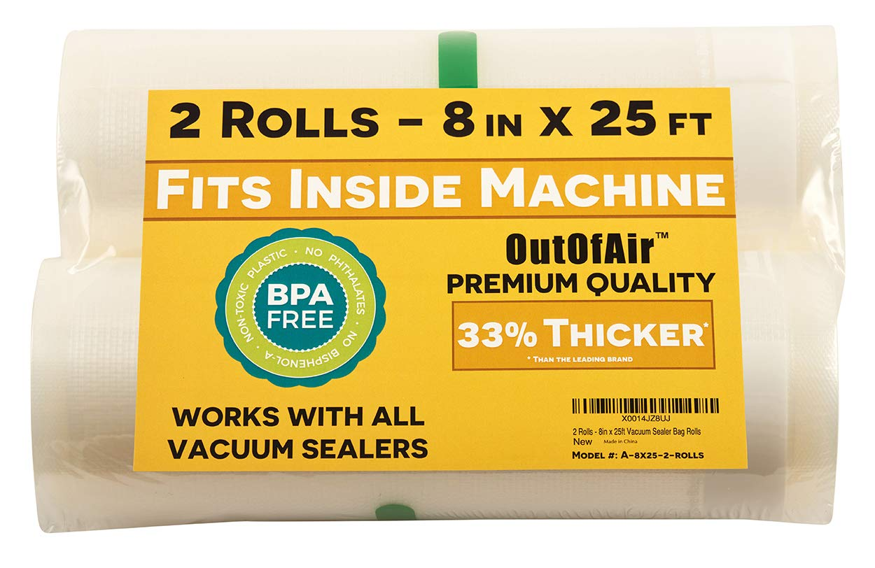 8'' x 25' Rolls (Fits Inside Machine) - Pack of 2 (50 feet total) - OutOfAir Vacuum Sealer Rolls Bags for Foodsaver and Other Savers 33% Thicker than Others, BPA Free, FDA Approved, Sous Vide